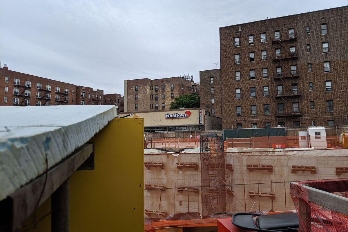 Construction underway on a planned Target-anchored retail space in Elmhurst, Queens.