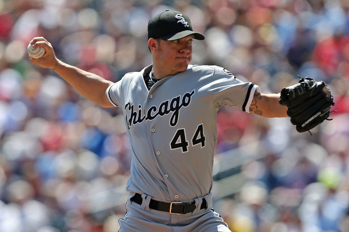 Aug 1, 2012; Minneapolis, MN, USA: Chicago White Sox starting pitcher Jake Peavy (44) delivers a pitch in the first inning against the Minnesota Twins at Target Field. Mandatory Credit: Jesse Johnson-US PRESSWIRE