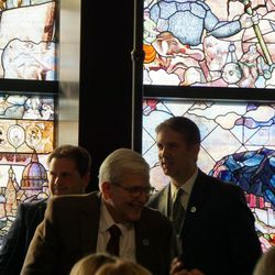 """The """"Roots of Knowledge"""" stained glass art was unveiled at Utah Valley University on Friday. A Guardian UK reporter called the work """"one of the most spectacular stained glass windows made in the past century."""""""
