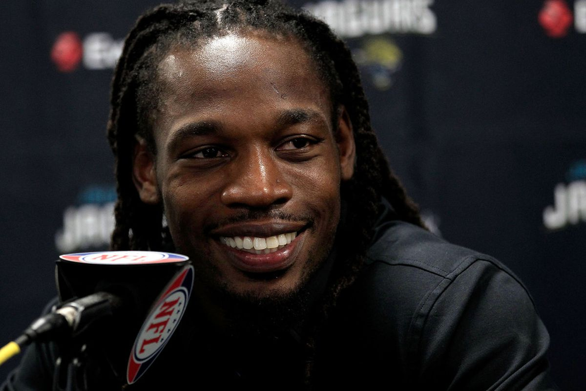 JACKSONVILLE, FL - JULY 26:  Rashean Mathis #27 of the Jacksonville Jaguars speaks to the media at EverBank Field on July 26, 2011 in Jacksonville, Florida.  (Photo by Sam Greenwood/Getty Images)