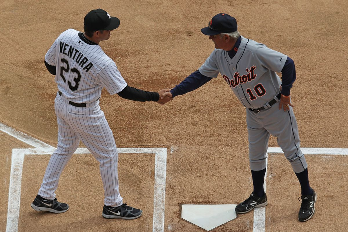 About 10 minutes after this handshake, Miguel Cabrera noticed that these batter's boxes were chalked backwards.