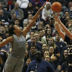 UConn's Napheesa Collier (24) blocks the shot of Notre Dame's Jessica Shepard (23) during the Notre Dame Fighting Irish vs UConn Huskies women's college basketball game in the Women's Jimmy V Classic at the XL Center in Hartford, CT on December 3, 2017.