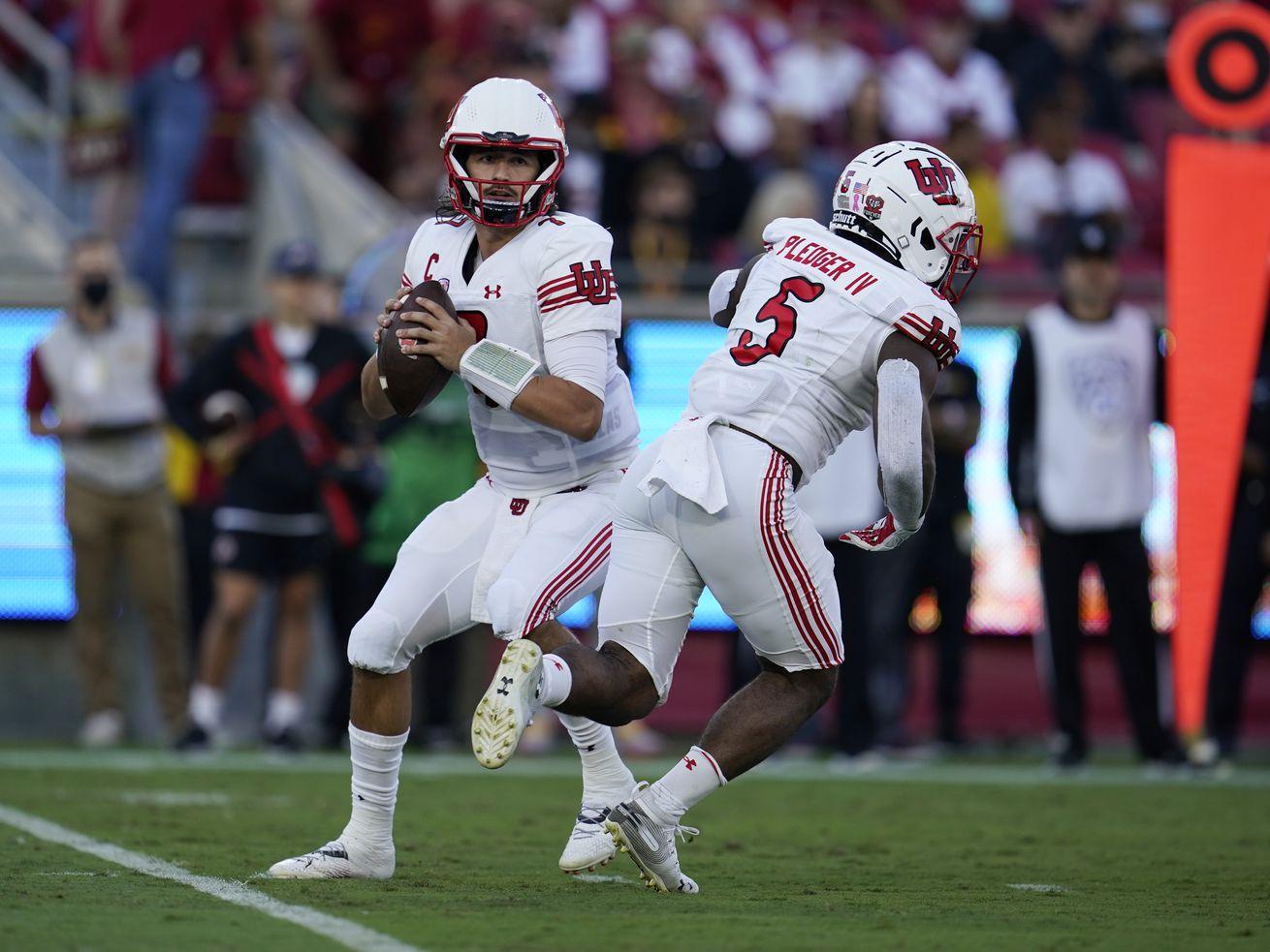 Utah quarterback Cameron Rising throws during game against Southern California Saturday, Oct. 9, 2021, in Los Angeles.