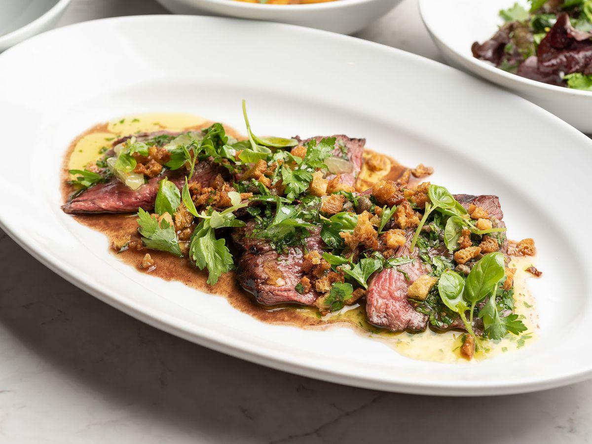 Antico restaurant's steak with salsa verde