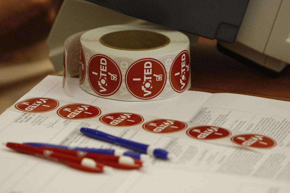 """""""I Voted"""" stickers on Utah's primary day at the Anderson-Foothill Library branch Tuesday, June 26, 2012, in Salt Lake City, Utah."""