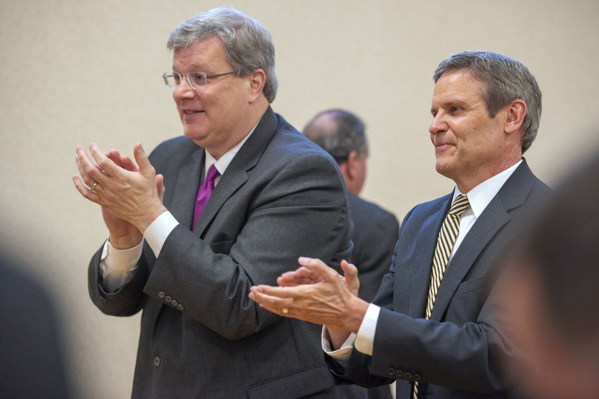 Memphis Mayor Jim Strickland, left, and Gov. Bill Lee during a ceremony in Memphis introducing a new certification program for construction jobs for Shelby County Schools students.