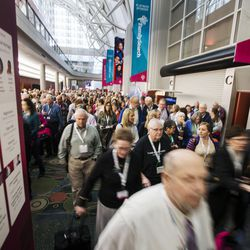 RootsTech attendees make their way out of the general session at the Salt Palace in Salt Lake City on Friday, Feb. 10, 2017.