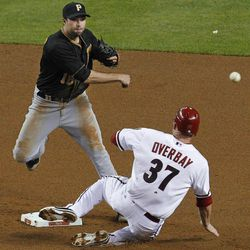 Pittsburgh Pirates' Neil Walker throws to first after forcing out Arizona Diamondbacks' Lyle Overbay (37) during the fourth inning of a baseball game Tuesday, April 17, 2012, in Phoenix. Aaron Hill was out at first.