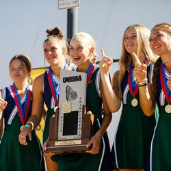 Green Canyon students cheers after becoming the state champion of 4A girls singles tennis during the state tournament at Liberty Park Tennis Center in Salt Lake City on Saturday, Oct. 2, 2021.