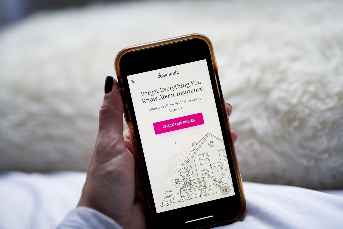 The homescreen for Lemonade insurance's app.