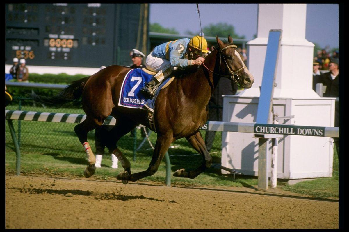 Unbridled winning the 1990 Kentucky Derby. (Mandatory Credit: Ken Levine /Allsport)