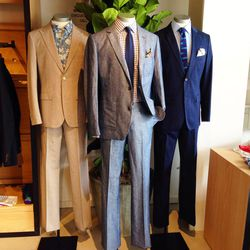 """Dapper dudes will want to beeline to the store's <A href=""""http://www.bonobos.com/b/mens-suits""""target=""""_blank"""">suits and blazers</a>. The linen suit jackets are particularly cool for warm-weather business affairs."""
