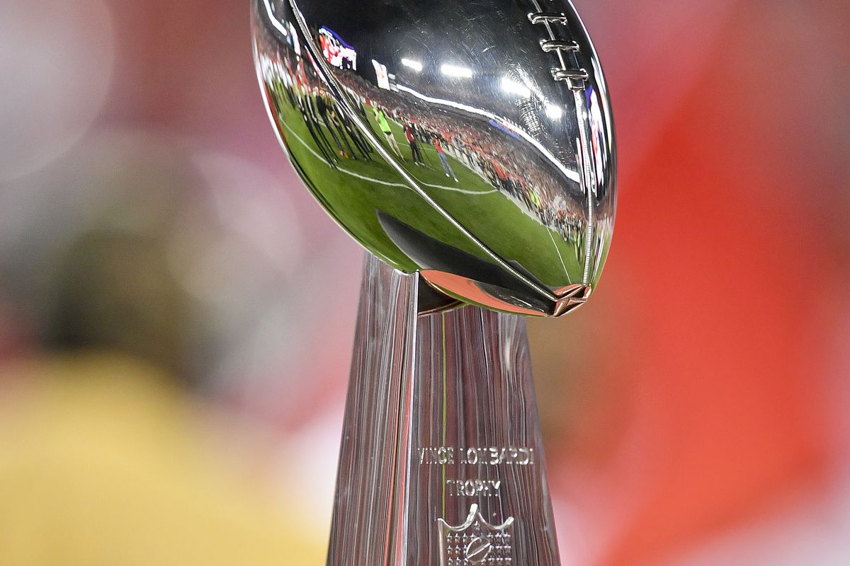 """The Super Bowl trophy that the Bucs won with John Gruden as head coach is displayed during the """"Ring of Honor"""" ceremony for John Gruden at halftime during an NFL game between the Atlanta Falcons and the Tampa Bay Buccaneers on December 18, 2017, at Raymond James Stadium in Tampa, FL."""
