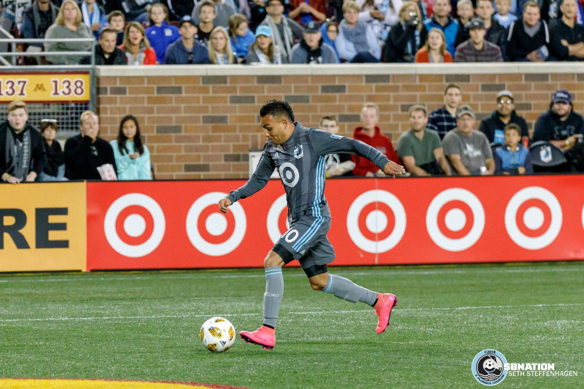 September 22, 2018 - Minneapolis, Minnesota, United States - Minnesota United midfielder Miguel Ibarra (10) sets up to take a shot during the match against the Portland Timbers at TCF Bank Stadium.