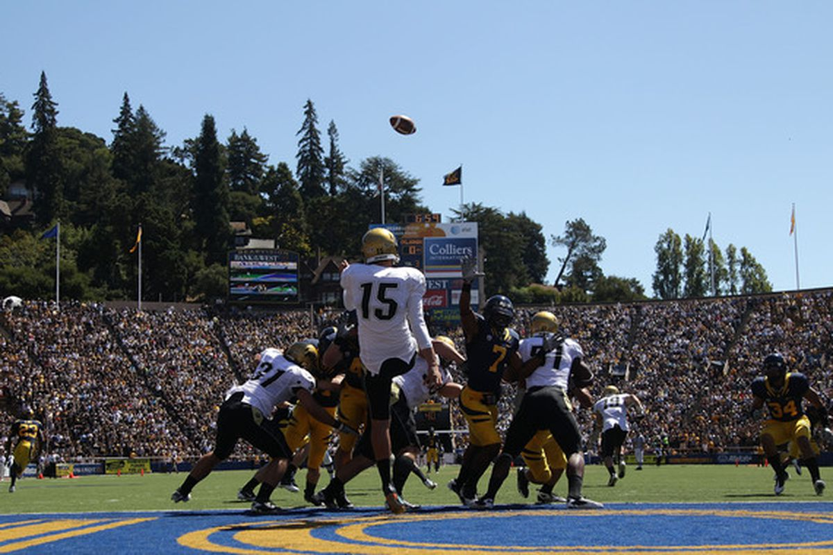 BERKELEY CA - SEPTEMBER 11: Zach Grossnickle #15 of the Colorado Buffaloes punts against of the California Golden Bears at California Memorial Stadium on September 11 2010 in Berkeley California. (Photo by Jed Jacobsohn/Getty Images)