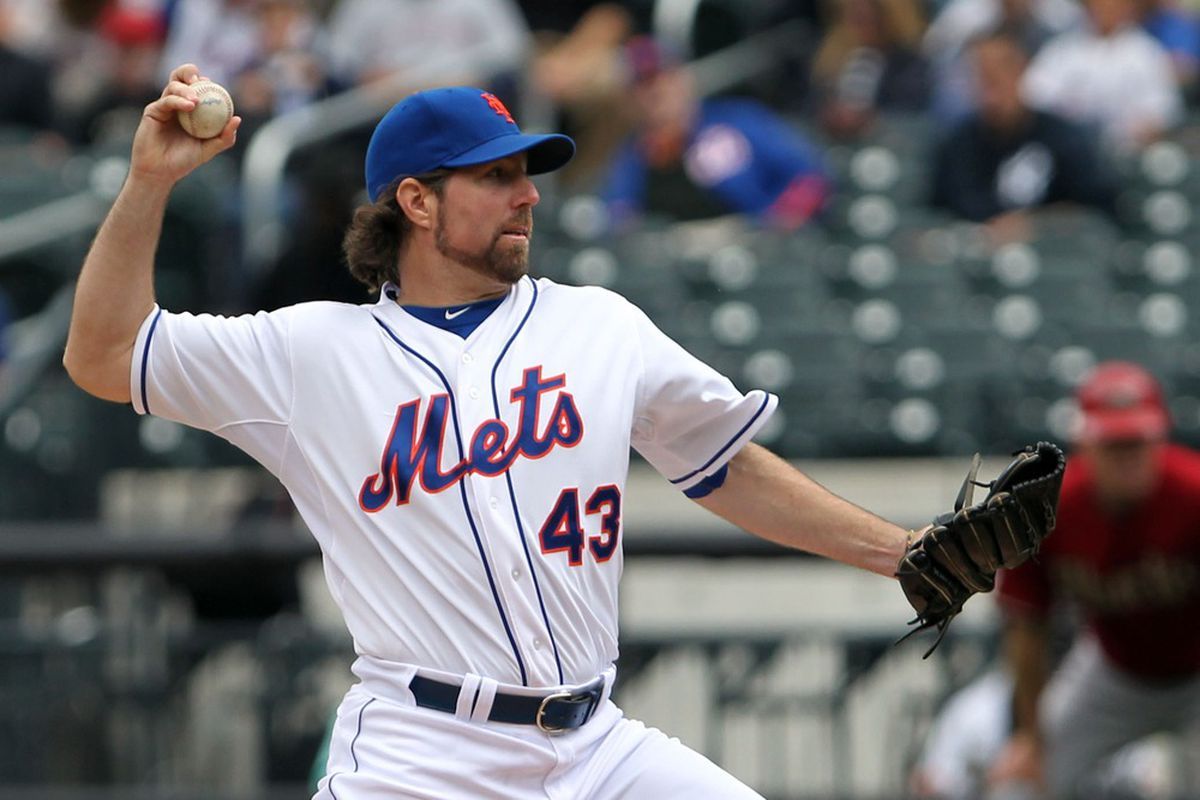 May 6, 2012; Flushing, NY,USA;  New York Mets starting pitcher R.A. Dickey (43) pitches during the first inning against the Arizona Diamondbacks at Citi Field.  Mandatory Credit: Anthony Gruppuso-US PRESSWIRE