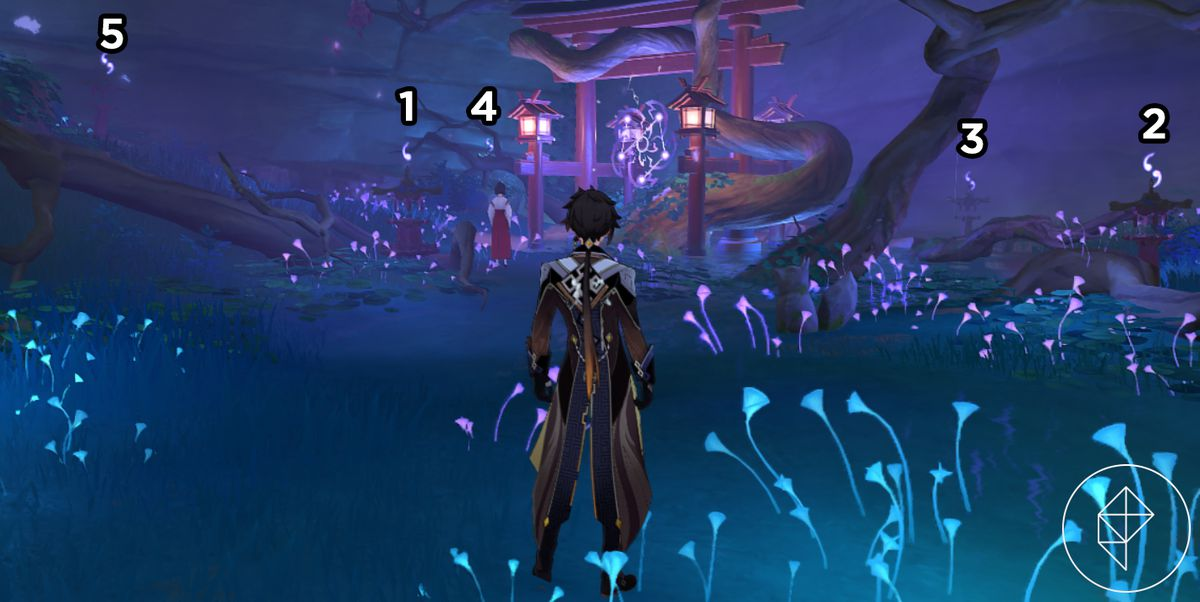 A screenshot of a shrine in Genshin Impact with numbers over certain shrine parts indicating how many symbols need to above each part. The western shrine is 5, the northwestern shrine is 4, the northeastern shrine is 3, the eastern shrine is 2 and the southern shrine is 1.