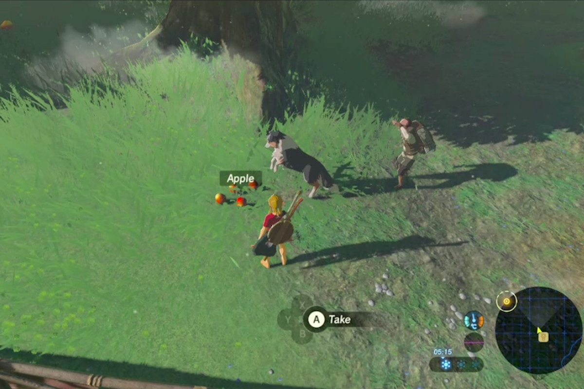 A dog in Breath of the Wild inspects an apple.