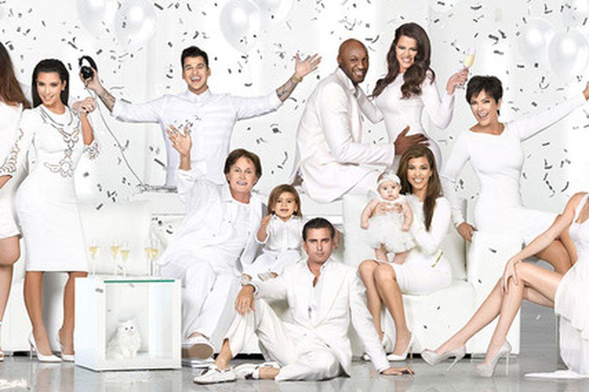 """Image via Kim Kardashian/<a href=""""http://kimkardashian.celebuzz.com/2012/12/17/our-2012-family-christmas-card/"""">Celebuzz</a>"""