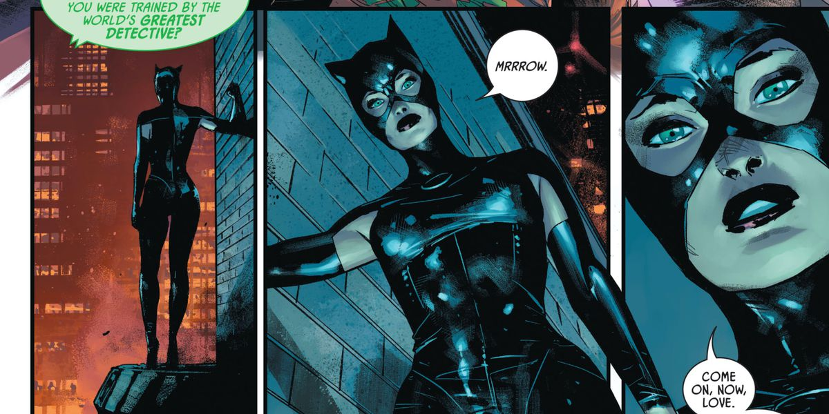 """""""Mrrrow,"""" Catwoman says to herself, while standing above the fray on a ledge, """"Come on, now, love."""" in Batman #100, DC Comics (2020)."""