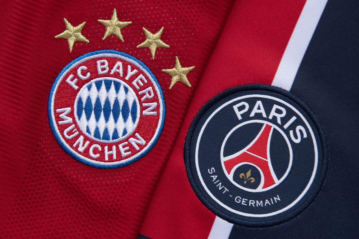 The FC Bayern Munich and Paris Saint-Germain Club Badges - Champions League