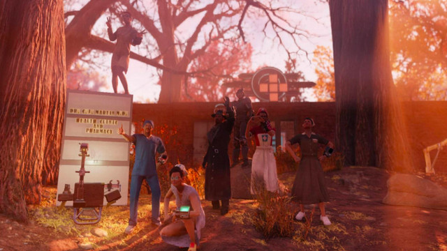 A bevy of hospital workers in Fallout 76 pose for the camera.