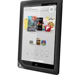 This undated image provided by Barnes & Noble shows one of the two new Nook tablets the company will be releasing in the fall of 2012. The company said Wednesday, Sept. 26, 2012,  that its new Nook HD will come in two sizes, one with a screen 7-inches wide diagonally, the same size as past Nooks, starting at $199, and one with a new 9-inch diagonal screen, called the Nook HD+, starting at $269. In addition to the new HD screen and a lighter body, Barnes & Noble is also increasing the services the Nook offers. It is adding a video purchase and rental service, allowing user profiles and making it easier to browse titles in its book and magazine stores.