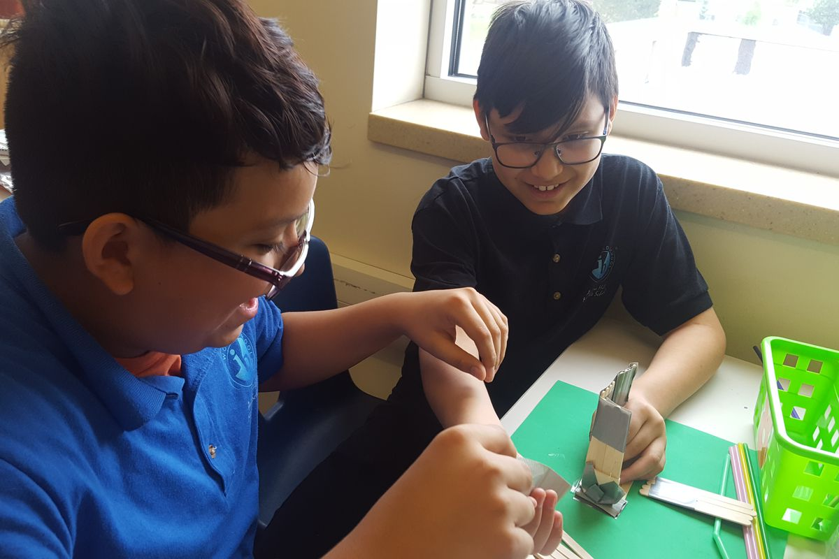Seventh graders at Aurora Hills Middle School work on hands-on projects in their STEM class.
