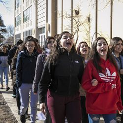 Students from Hancock High School walk out of class to protest gun violence. | Ashlee Rezin/Sun-Times