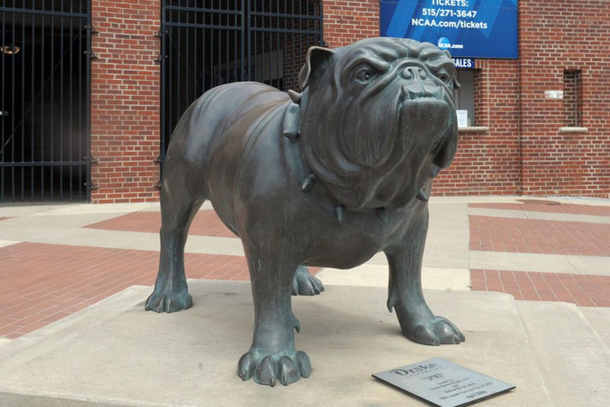 I don't know if Drake has a mascot, but they've got this pretty badass statue outside their track stadium.