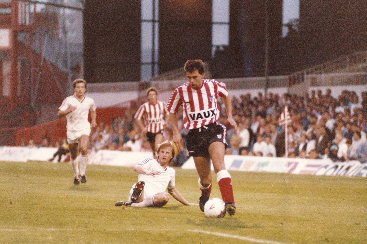 Kieron Brady makes his debut as a 17 year old against the then Russian champions at Roker Park (Photo appears courtesy of, and with the written consent of Kieron Brady)