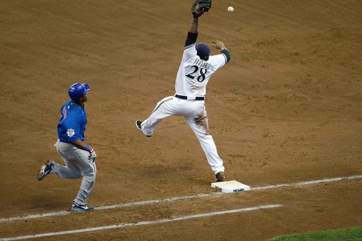 Let's be honest, most of you are tired of seeing moments like this one at Miller Park.  For those of you who predict 0 errors on a regular basis, do you just hope that you don't have to witness a moment like this in a game?