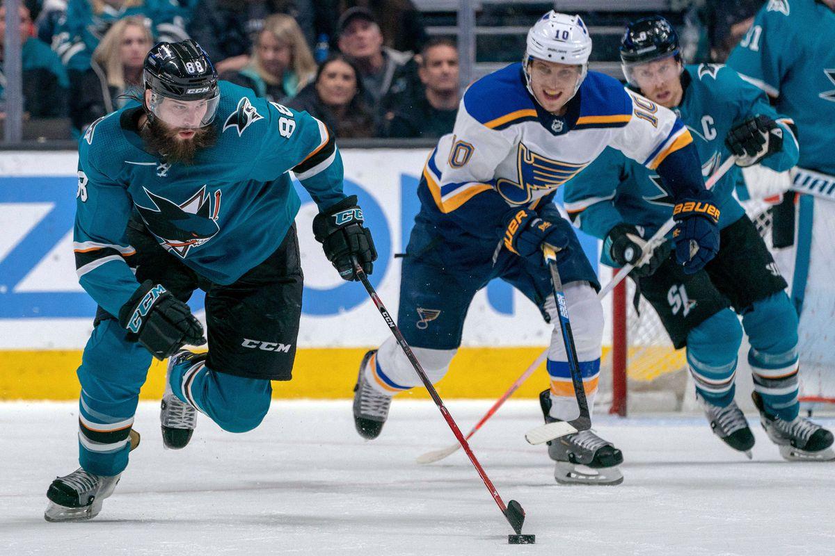 Mar 9, 2019; San Jose, CA, USA; San Jose Sharks defenseman Brent Burns (88) on a fast break chased by St. Louis Blues center Brayden Schenn (10) during overtime at SAP Center at San Jose.