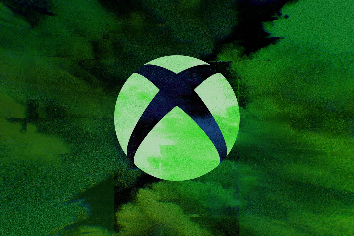 """white Xbox logo floats over glitchy green """"clouds"""""""