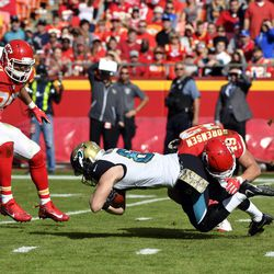 Jacksonville Jaguars wide receiver Bryan Walters (81) is tackled by Kansas City Chiefs defensive back Daniel Sorensen (49) during the first half of an NFL football game in Kansas City, Mo., Sunday, Nov. 6, 2016.