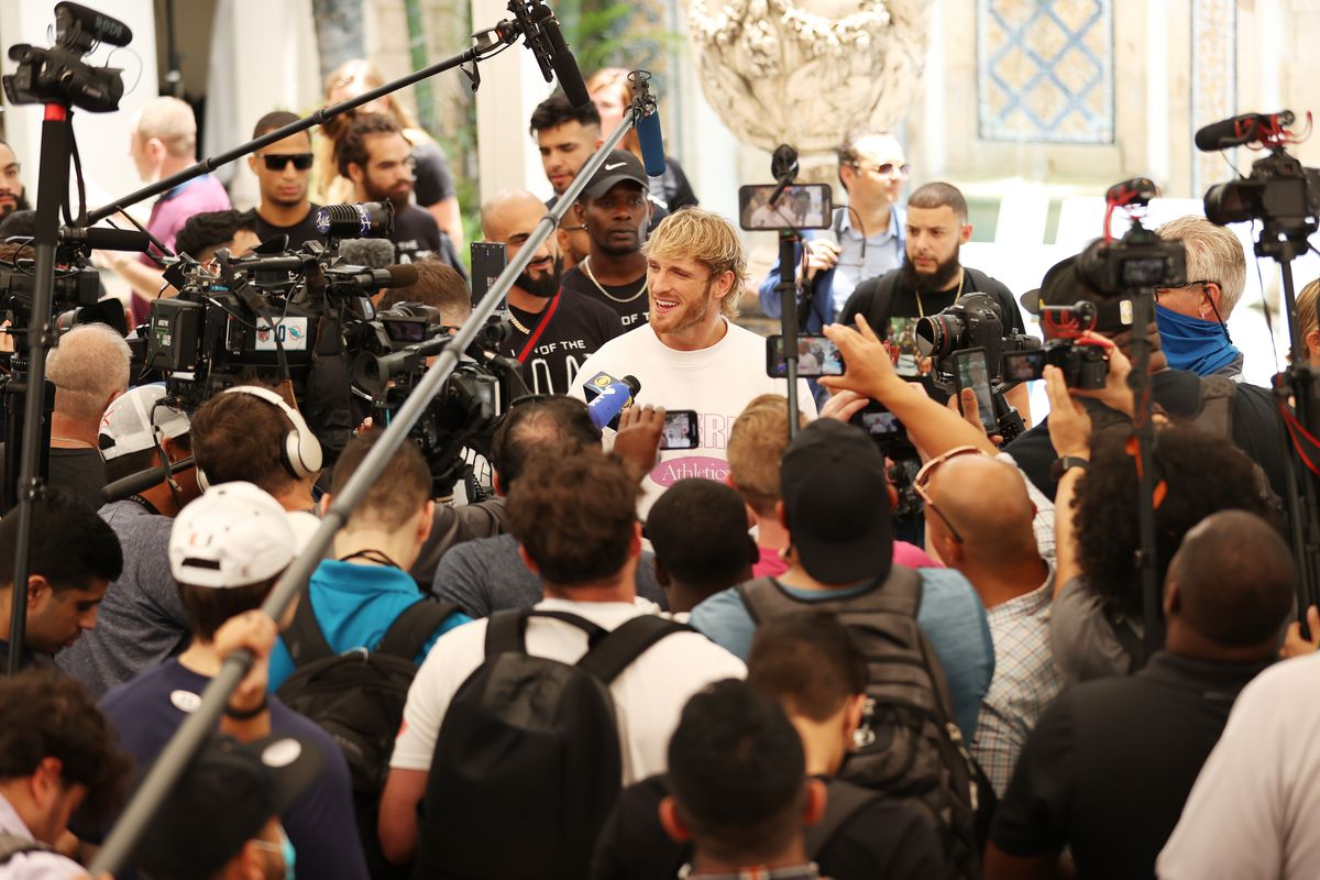 Logan Paul takes part in media availability ahead of his June 6th exhibition boxing match against Floyd Mayweather on June 03, 2021 at Villa Casa Casuarina at the former Versace Mansion in Miami Beach, Florida.
