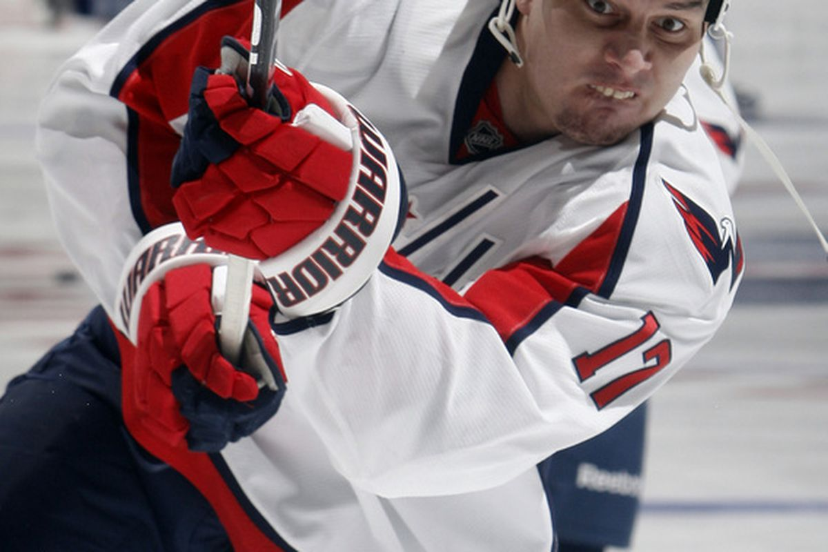 D.J. King of the Washington Capitals shoots during warmup before game action at the Air Canada Centre against the Toronto Maple Leafs.