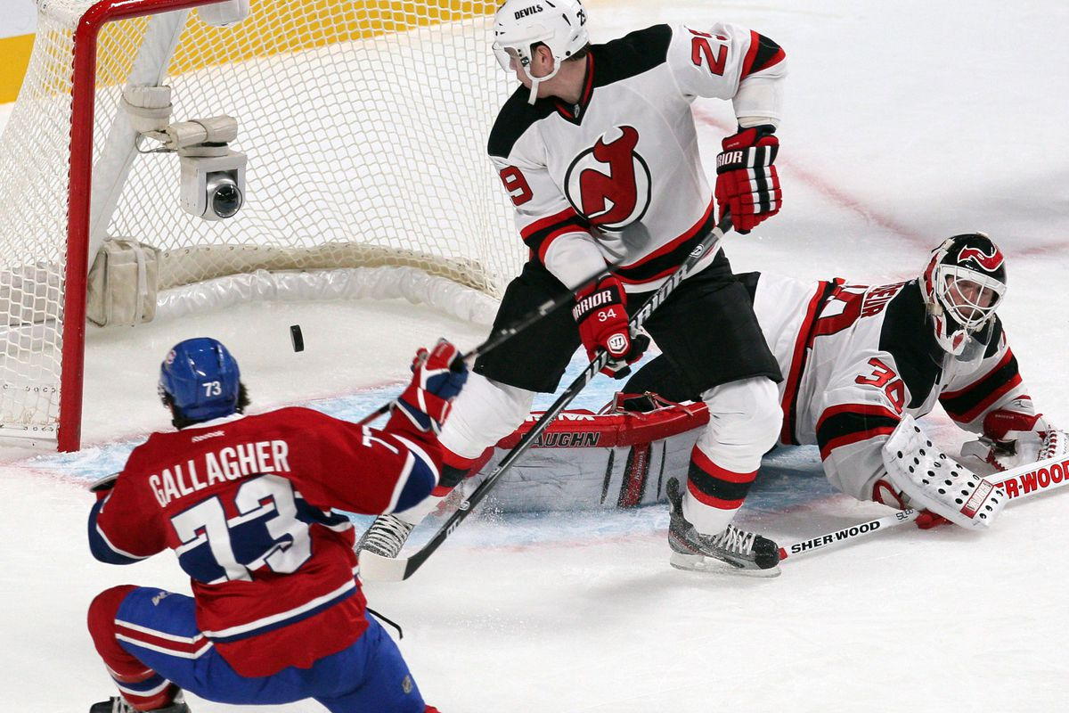 It looked bleak after this goal against in the first period, but the Devils managed to force overtime and salvage a point.