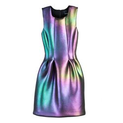 "<b>Cynthia Rowley</b> Iridescent Seamed Waist Dress, <a href=""http://www.cynthiarowley.com/dresses/seamed-waist-dress.html"">$410</a>"