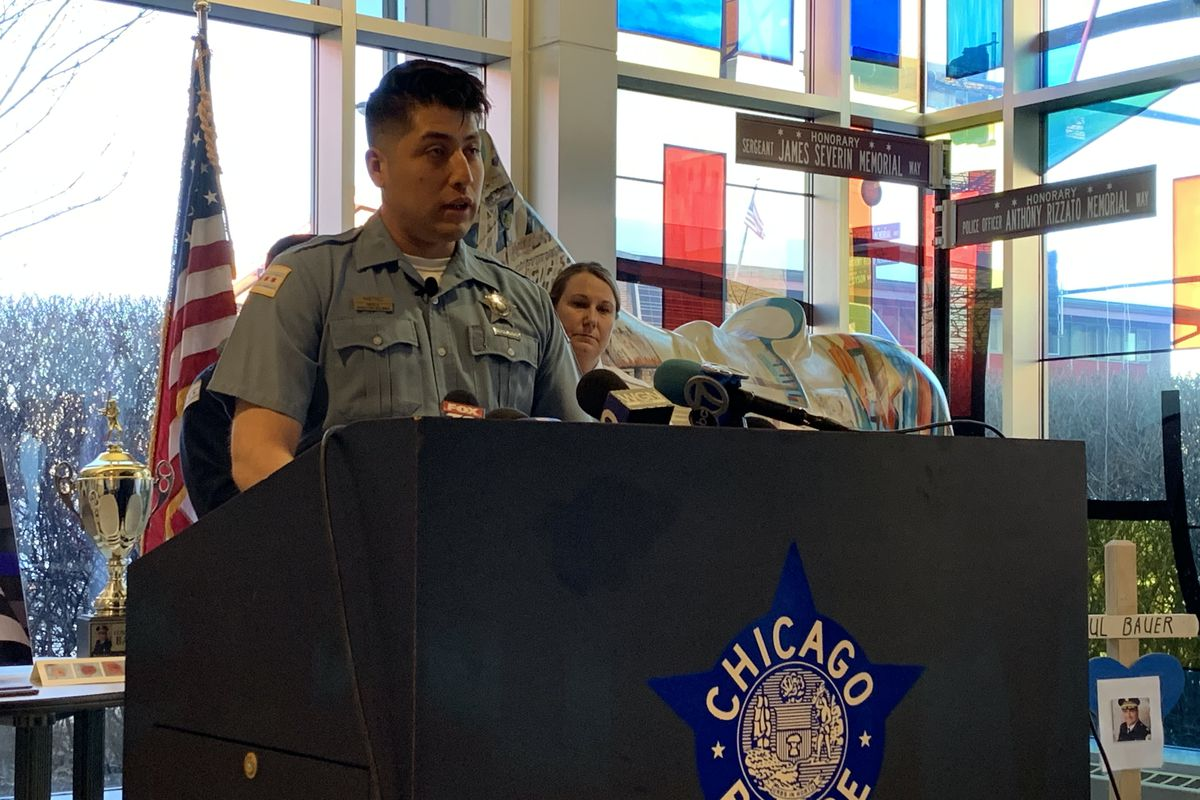 Near North District police officer Israel Martinez explains how he treated a 15-year-old boy who was stabbed last month near the North/Clybourn CTA station.