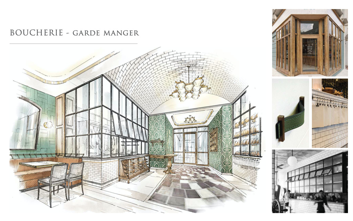 Drawings for a French brasserie with lots of glass and tall windows.