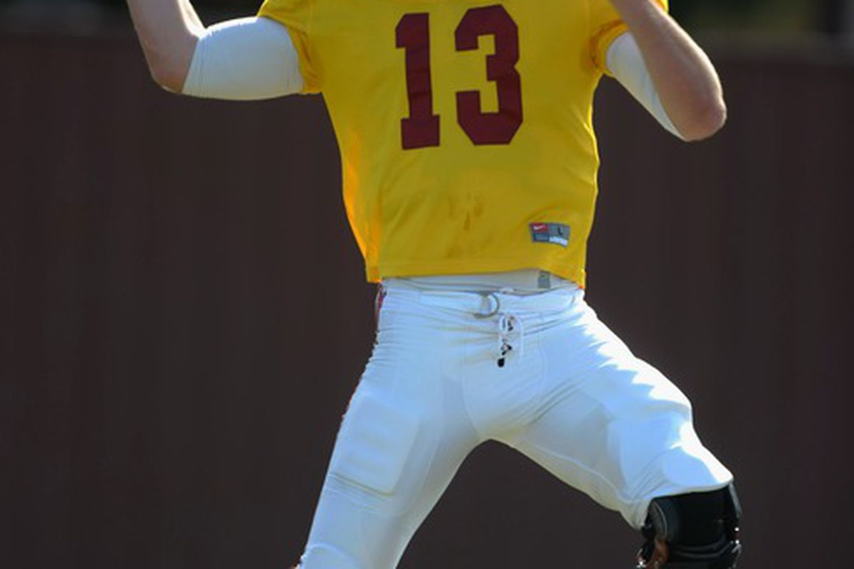 Apr 5, 2012; Los Angeles, CA, USA; Southern California Trojans quarterback Max Wittek (13) throws a pass during a spring practice at Howard Jones Field. Mandatory Credit: Kirby Lee/Image of Sport-US PRESSWIRE