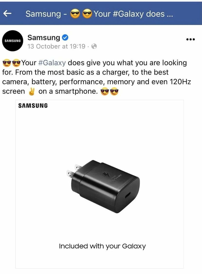 """A Samsung ad including an image with a phone charging brick captioned """"Included with your Galaxy"""""""