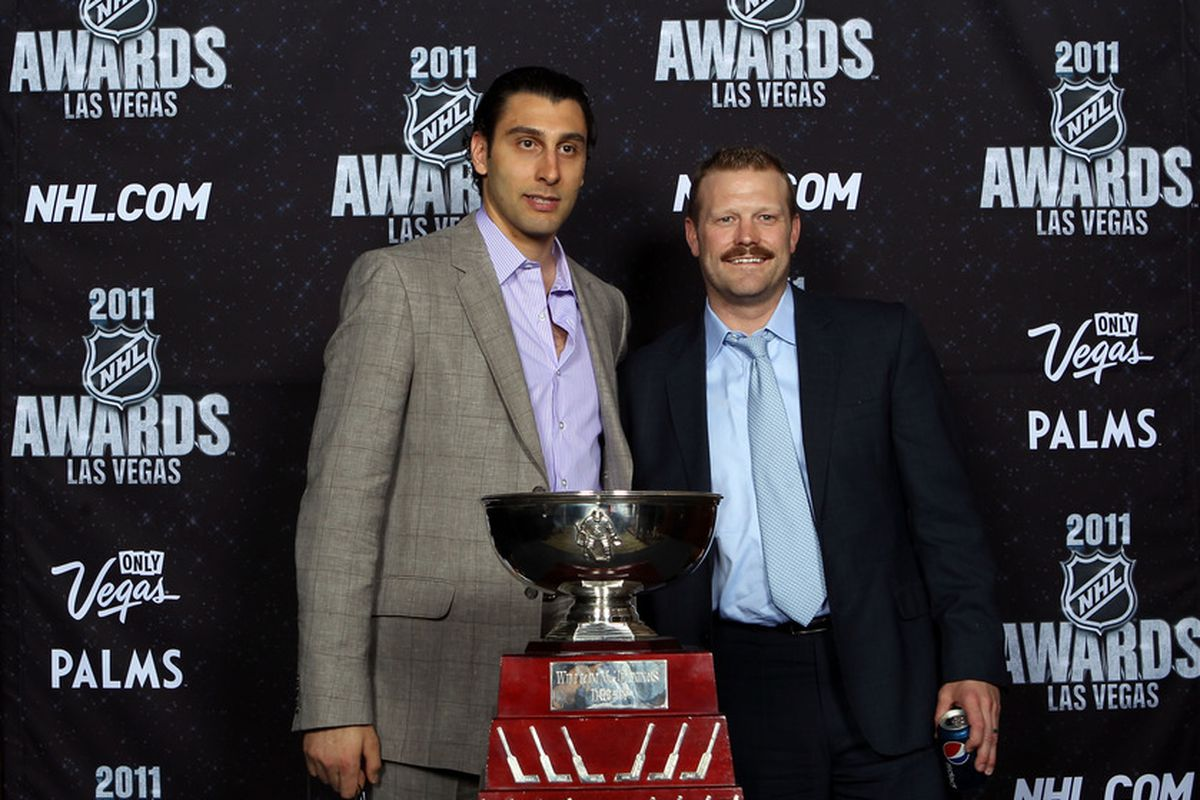 """""""Hello, we're both National Hockey League goaltenders of an elite-sort and we'd like to remind you that we will likely be available over the off-season...  For a price."""""""