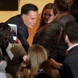 Former Gov. of Mass. Mitt Romney shakes hands after addressing the Hinckley Institute of Politics regarding the 2016 presidential race at the University of Utah in Salt Lake City on Thursday, March 3, 2016.