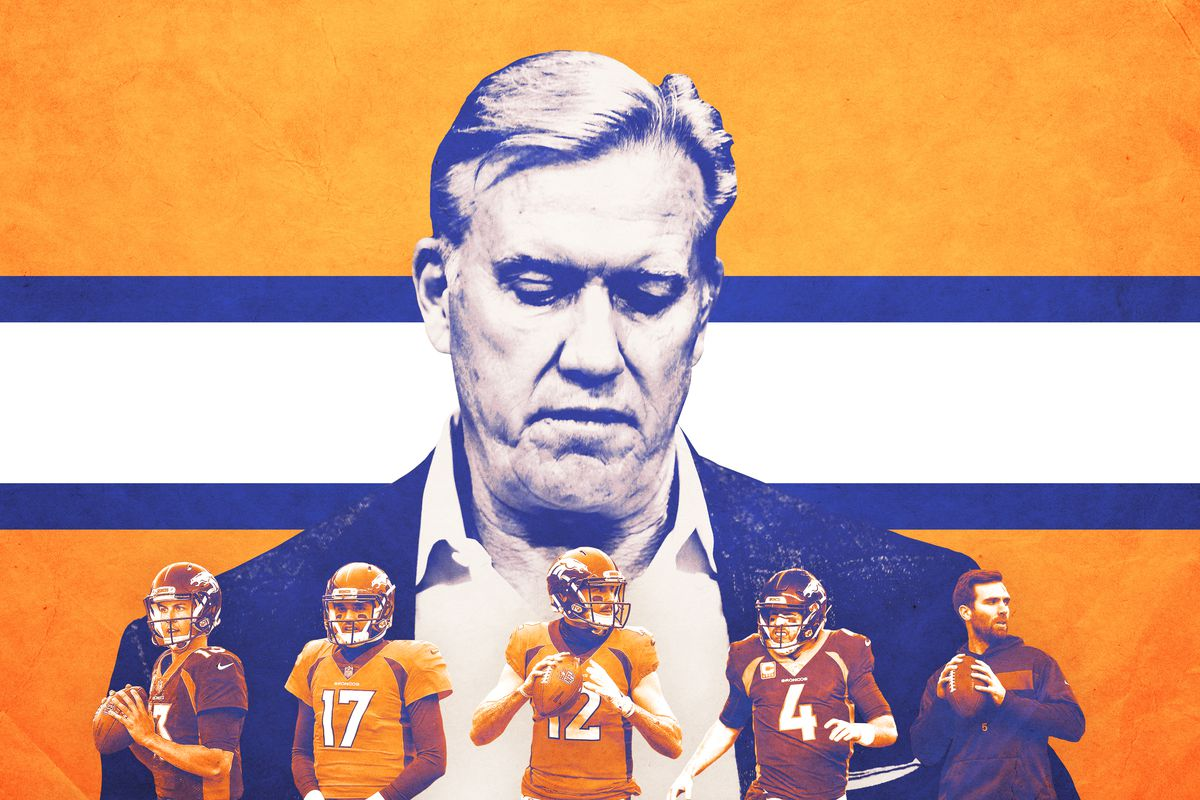 Denver Broncos general manager John Elway looking disappointed in his recent string of quarterbacks