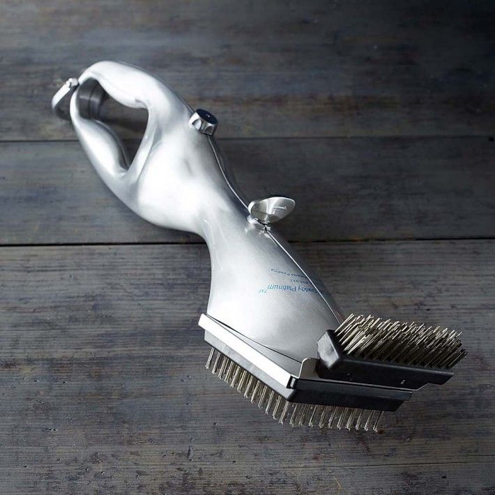 A grill cleaning brush