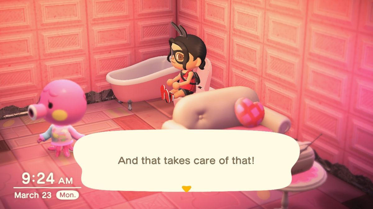 A villager sits on the toilet in a pink room in a screenshot from Animal Crossing: New Horizons