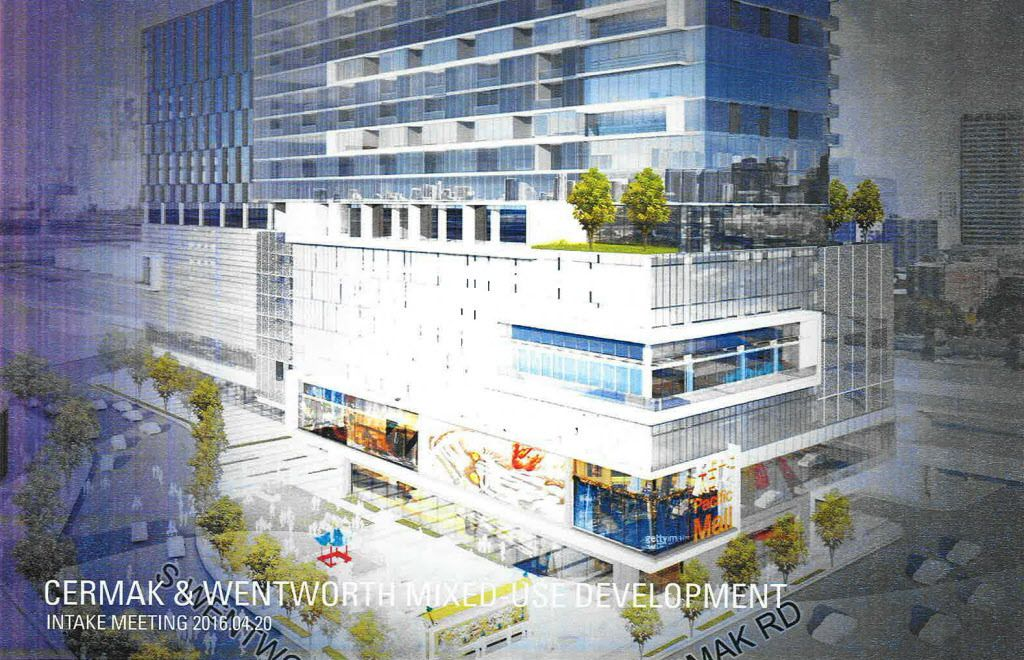 Artist's rendering of a 2016 proposal for a development on the site of a state-owned parking lot at Cermak Road and Wentworth Avenue in Chinatown.
