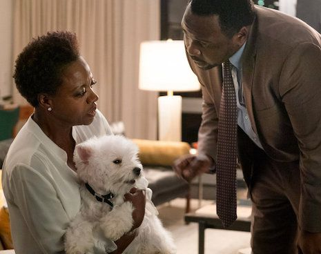 Viola Davis holding a white terrier while Brian Tyree Henry looks on